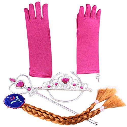 Eiskönigin Elsa und Anna - Set aus Diadem, Handschuhe, Zauberstab, Zopf - für Karneval, Fasching, Geburtstag, Party, Verkleidung -...