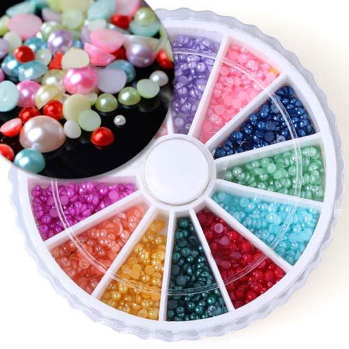 Lot de 500 perles synthétiques 3D multicolores nacrées à dos plat pour nail art