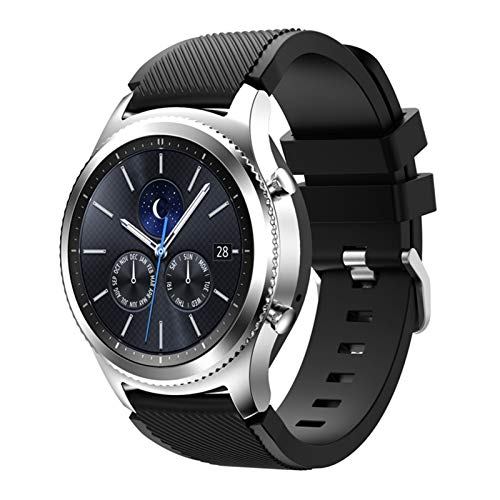 Correa para Samsung Galaxy Watch 3 45mm / 41 / activo 2 engranaje S3 Frontier/HW Watch GT 2E / 2 / GTS Strap 20 / 22mm Watch Band 10688 (Band Color : Black 3, Band Width : 22mm)