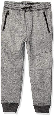 BROOKLYN ATHLETICS Boys' Big Fleece Jogger Pants Active Zipper Pocket Sweatpants, Black Marl, Medium