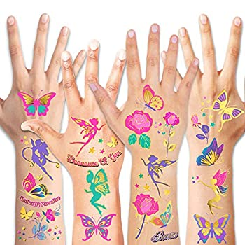 HOWAF Glitter Tattoos for Girls Waterproof Rose/Fairy/Butterfly Temporary Tattoos Kits for Kids Colourful Fake Temporary Butterfly Tattoo Stickers for Girls Birthday Party Supplies Favors