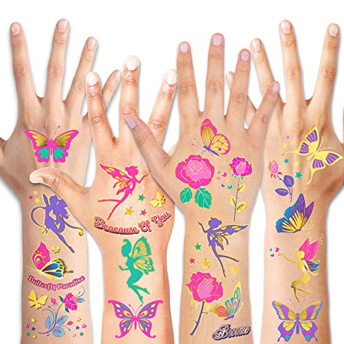 HOWAF Glitter Tattoos for Girls, Waterproof Rose/Fairy/Butterfly Temporary Tattoos Kits for Kids, Colourful Fake Temporary Butterfly Tattoo Stickers for Girls Birthday Party Supplies Favors