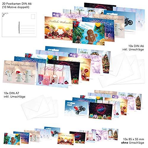 PRICARO - Biglietti di Natale con buste, motivo 1, 50 pezzi