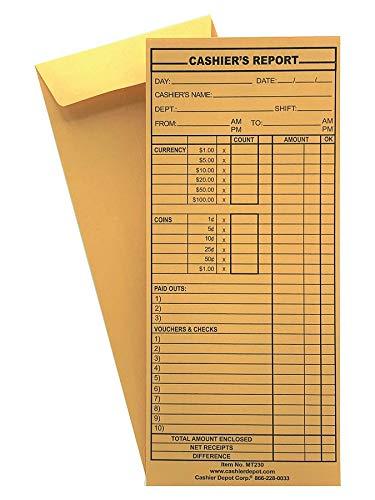 "500 Cashier Depot MT230 Cashier's Report Envelope, 4 1/2"" x 10 3/8"", Brown Kraft 24lb. (500 Envelopes)"