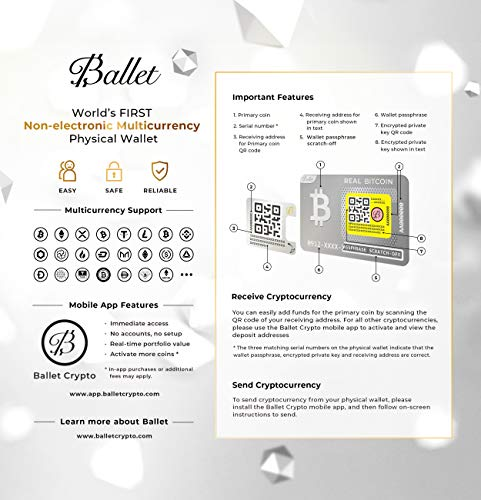 Ballet Cryptocurrency Physical Wallet, Real Series Stainless Steel, with Bitcoin and Multicurrency Support (Single)