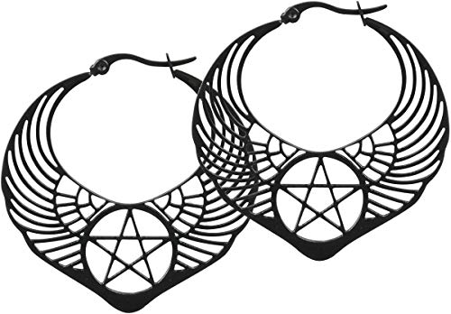 Wildcat Winged Pentagram Hoops Frauen Ohrring schwarz
