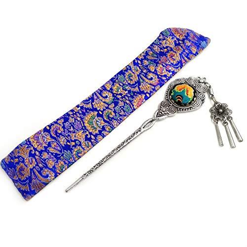 Haarnadeln Miao Silber Retro Haar Folk Haarspange für Frauen Mädchen mit Stickerei Schmuck und Quaste Traditionele Chinesische Vintage Stil Haar Clips mit Seide Tasche 100% Handarbeit
