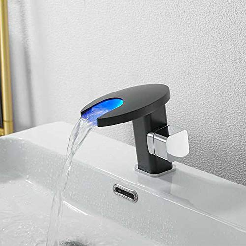 Cascada cobre cromado grifo lavabo frío y caliente lavabo baño lavabo grifo de lavabo doméstico-Cromo negro