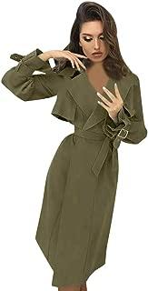 Sanyyanlsy Ladies Fall Winter Casual Notched Neck Windbreaker Front Wrap Belt Lace-Up Coat Women Jacket Outwear Overcoat