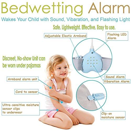 Fency Alarma de enuresis de la tubería, 3 funciones. Alarma de baño recargable en la cama con sonidos fuertes y vibraciones fuertes para el sueño profundo, niños, niñas, todos los niños (Blanco)