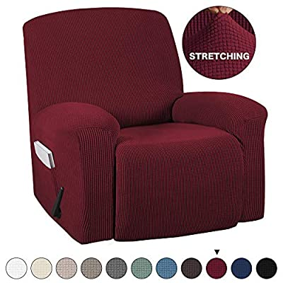 Turquoize Recliner Cover with Pockets 1-Pieces Chair Recliner Cover Suede Furniture Cover Spandex Stretch Slipcover for Recliner Chair Sofa Covers Anti-Slip Slipcover Highly Fitness