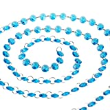 H&D 6FT Glass Crystal 14mm Octagon Beads Chain Chandelier Prisms Hanging Wedding Garland (Sky Blue)