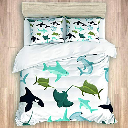 TARTINY Seamless pattern of hammerhead and blue shark sphyrna manta orca,Flat Bedroom Decorative 3 Pc Bedding Set, (1 Duvet Cover + 2 Pillowcases),Double size