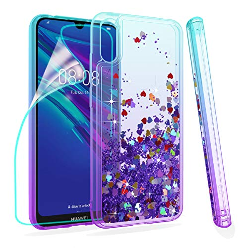 ZingCon Compatible for Huawei Y6 2019 Phone Case,Honor 8A/Play 8A Glitter Quicksand Case,with HD Screen Protector,Shockproof Hybrid Hard PC Soft TPU Bling Adorable Shine Protective Cover-Lake/Purple