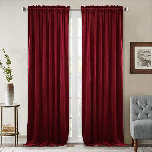 StangH Theater Red Velvet Curtains - Super Soft Velvet Blackout Insulated Curtain Panels 84 inches Length for Living Room Holiday Decorative Drapes for Master Bedroom, W52 x L84, 2 Panels