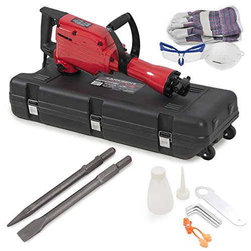 ARKSEN 2200W Electric Demolition Jack Hammer Concrete Breaker Punch & Chisel Bits Portable Heavy Duty with Case Kit