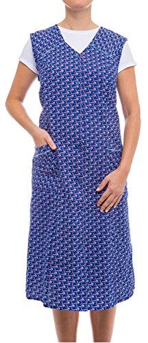 Tobeni Delantal de Mujer Smock Botón-Delantal Largo en 100% Algodón sin Mangas con Bolsillos Color Design 37 Tamano 50