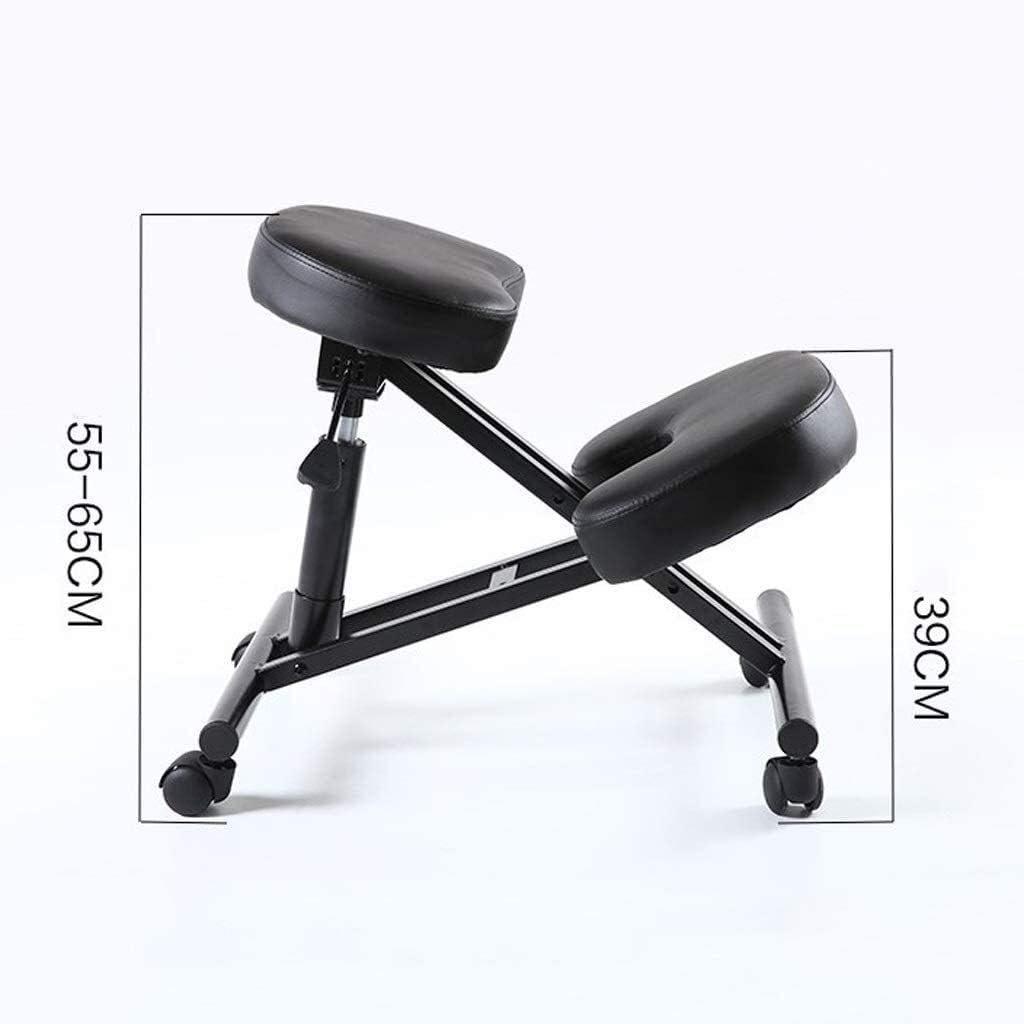 HUXIUPING Président Genoux Chaise de Bureau d'ergonomie au Bureau Genoux Tabouret Chaise d'ordinateur Correction Posture Anti-myopie (Color : Purple) Black