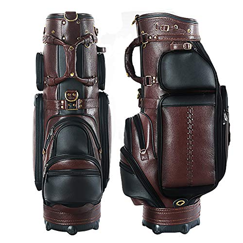 AMAIRS Golftasche, Herren Leder Golf Standard Stehtasche Golfwagen Queue-Tasche Multifunktionale Geschichtete Aufbewahrungstasche Für 13-14 Finger Queue,Braun