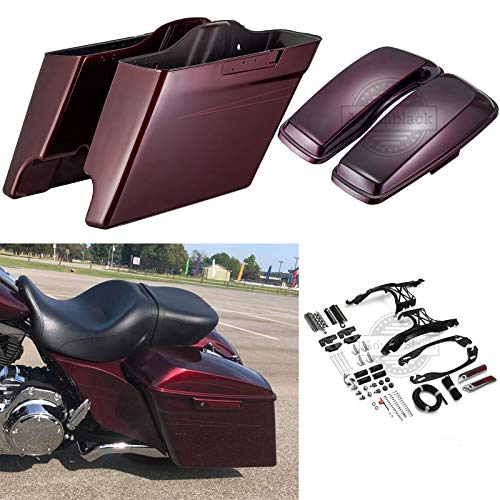 For Sale! Advanblack Mysterious Red Sunglo 4 1/2 Inch Stretched Saddlebags Burgundy Pinstripe Extend...