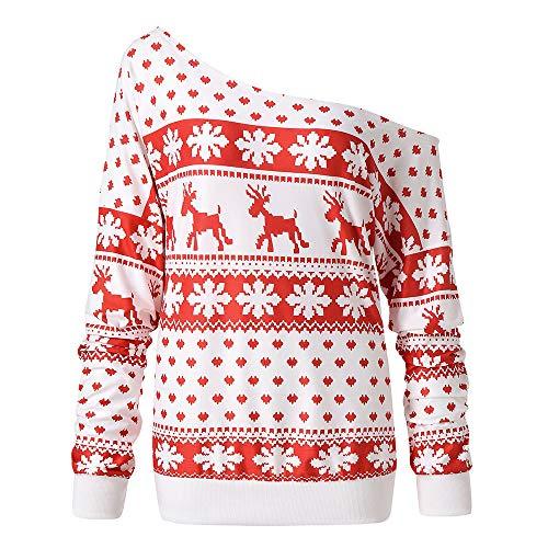 IZHH Damen Pullover Frauen Weihnachten Weihnachten Print Langarm Bluse Tops Shirt Damen Weihnachten Print Langarm Top Sweat-Shirts Pullover Tunika Blusen T-Shirts Tops(Rot,Medium)