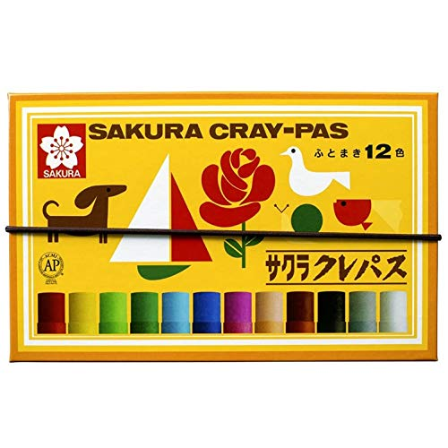 Sakura Color pastel crayon 12 colors with rubber string LP12R (japan import)