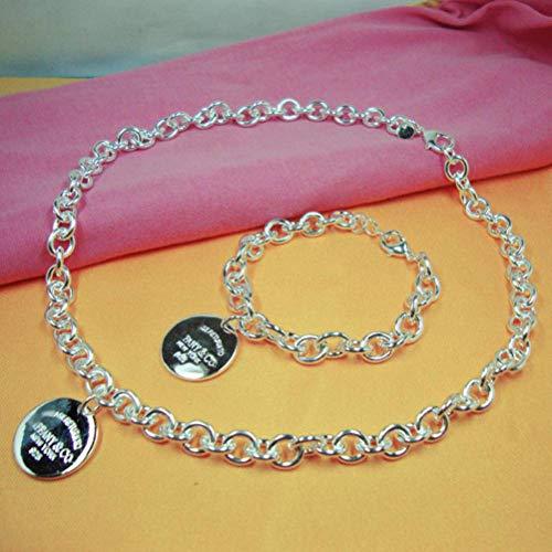 S&RL Pulsera Decorativa para Mujer, Cadena Cruzada en Forma de Corazón Marca Brillante Gran O-Chain O-Chain Blister Hebilla Hombres Y Mujeres Collar Pulsera, JuegoConjunto de broche de langosta redon