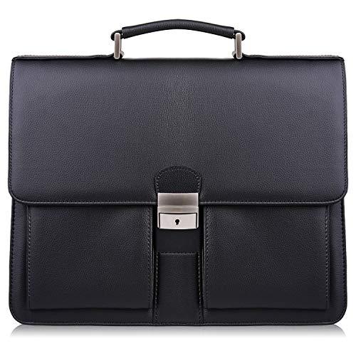 S-ZONE 14 Inch Borsa Laptop da Uomo Valigetta da Lavoro Borsa Tracolla in Pelle Microfibra con Triplo Divisore