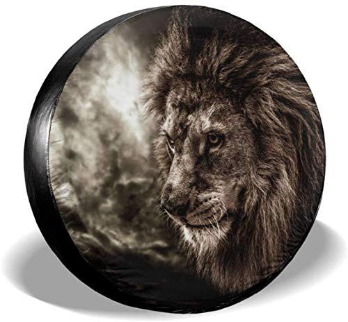 MODORSAN Cool Lion Cubierta de neumático de Rueda de Repuesto Cubiertas de Rueda universales de poliéster para Jeep Trailer RV SUV Accesorios de camión, 15 Pulgadas
