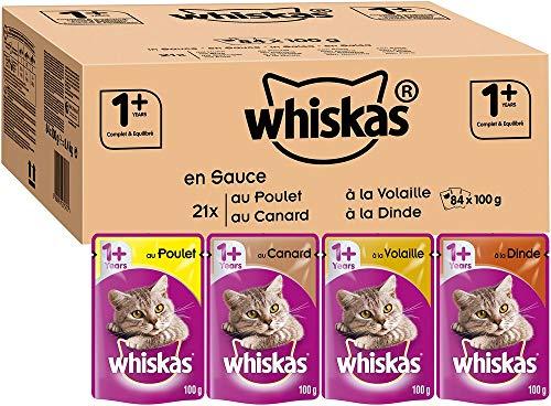 Whiskas Sachets Fraîcheur pour Chat Adulte (Stérilisé Ou Non), Sélection mixte en Sauce, 84 Sachets Repas de 100g