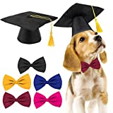 Meetory 2 Stück Haustier-Abschlusskappen mit 5 Fliegen als Krawatte und Halsband,Abschluss-Mützen mit gelber Quaste für Haustier-Training, Camping, Hunde, Katzen, Urlaub, Kostüm-Zubehör