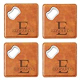 Let's Make Memories Personalized Bottle Opening Coasters - Engrave with Name & Initial - 2-in-1 Bottle Opener/Coaster - Set of 4 - Brown