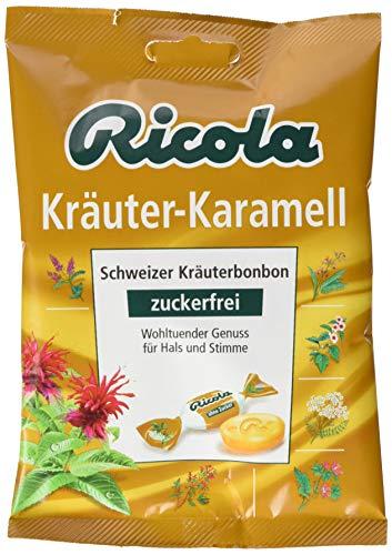 Ricola Kräuter Karamell, Schweizer Kräuterbonbon, 18 x 75g Beutel, ohne Zucker, Wohltuender Genuss