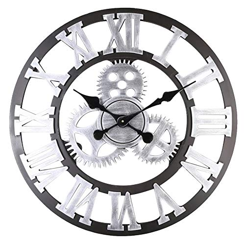 Warmiehomy 58cm Large Wall Clock, 3D Gear Vintage Industrial Silent Roman Numeral Hanging Clock for Home, Office, Cafe Decoration, Silver