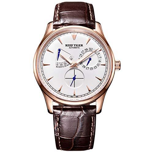 REEF TIGER Herren Uhr Analog Automatik mit Leder Armband RGA1980-PWS