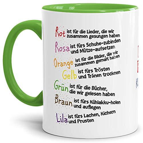 Tassendruck Geschenk Tasse für Kinder mit Spruch zum Kitaabschied - Danke für die Kitazeit - Abschied Kita/Geschenkidee Erzieherin Schulkind/Erinnerung - Innen & Henkel Hellgrün
