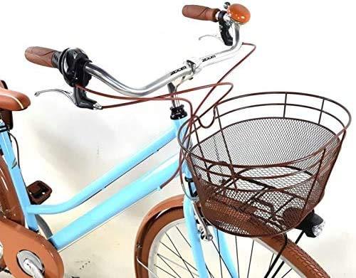 Bicicletta Donna Vintage 28″ + Borse e Cestino Incluso Cambio 6 velocità Azzurra