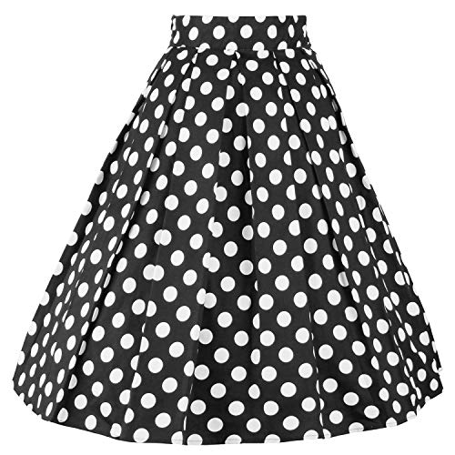 DresseverBrand Damen Rockabilly Rock A Linie Retro Rock Midi Swing R?cke Dots Small