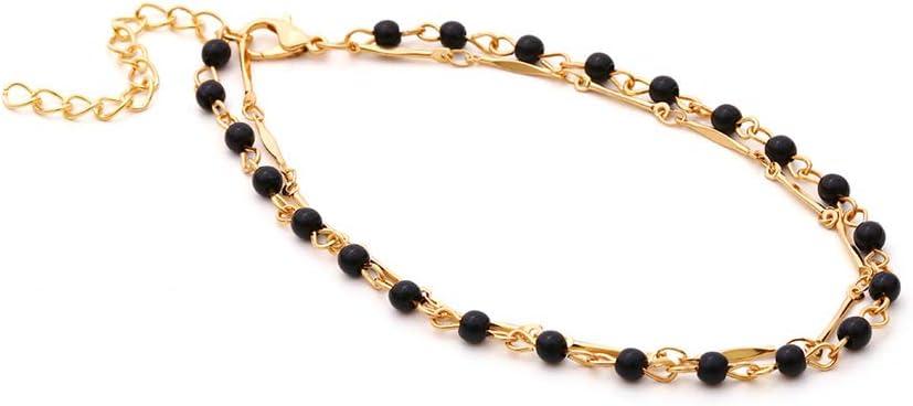 Mvude Gold Chain Anklets Boho Beach Dainty Black Bead Bracelet Foot Jewelry