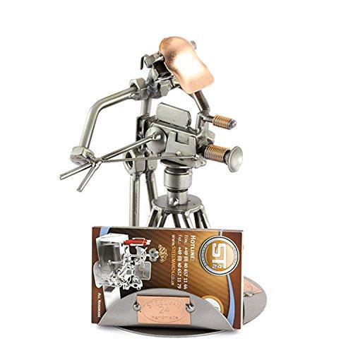 Steelman24 Schroevenmannetje met statief en visitekshouder, made in Germany, handgemaakt, cadeau-idee, stalen figuur, metalen figuur