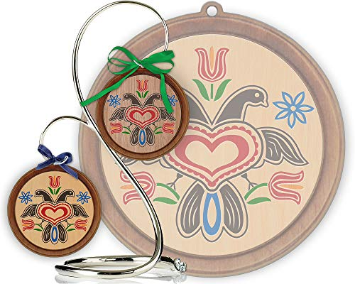 Red Tail Crafters Eagle 3in/4in Hardwood Ornament PA Dutch Laser-Engraved Hex Sign