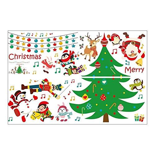 Domybest Kerstster Decals, Kerstman Boom PVC Waterdichte Verwijderbare Zelfklevende Muurstickers voor Bril, Ramen, Muren, Deur op Huis Shop Decor Eén maat A