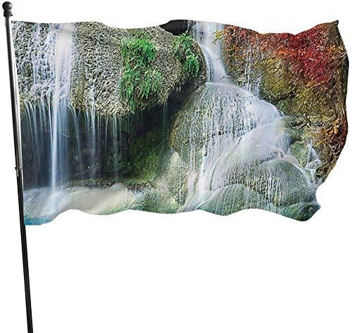 Bandera,Bandera De La Yarda De La Bandera del Jardín del Paisaje De La Cascada Resistente Al Clima 3x5pies,36x60pulgadas