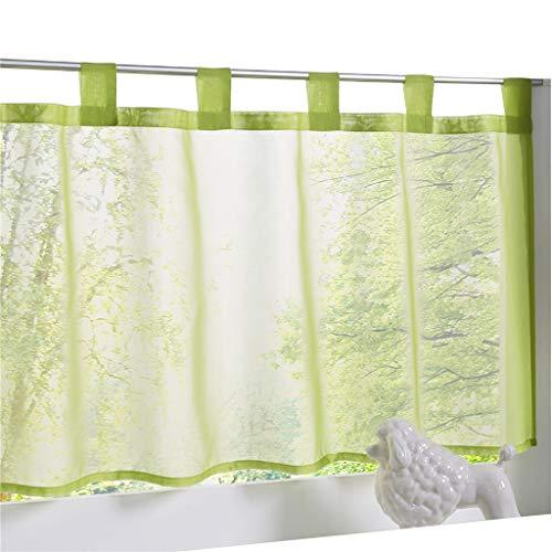 Rideau ESLIR avec passants - Rideau de cuisine - Rideau brise-bise transparent, Polyester, vert clair, HxB 60x120cm