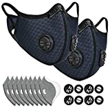 ETGLCOZY Dust Mask with 8 Activated Carbon Filters, Dustproof Respirator Breathing Mask for Pollen Allergy Woodworking Mowing Running Cycling Outdoor Activities (Navy Blue)