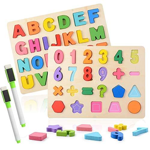 Puzzles de Madera, 2 Piezas Alfabeto y Números Rompecabezas ABC Tablero de Rompecabezas Aprendizaje Regalo Juguete Educativo para Niños