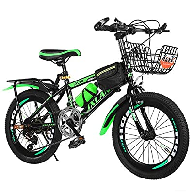 N-A 18/20/22 Inch Mountain Bike for 6-15 Years Children Teens, Portable Outdoor Mountain MTB Bicycle with Backseat Bell Basket Bag Water Bottle Cage Mudguard Lock Tools