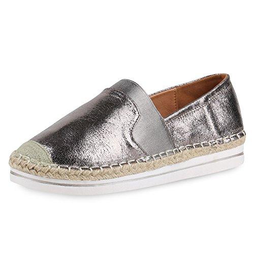 SCARPE VITA Damen Slipper Slip-ons Bast Espadrilles Metallic Freizeit Schuhe Flats 160612 Grau 39
