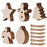50 Pcs Unfinished Paintable Blank Wooden Christmas Festival Decoration Ornaments, Xmas Tree Hanging Wood Slices for Kids DIY Art Crafts, 5 Designs-Christmas Tree, Snowman, Stars, Angel, Round