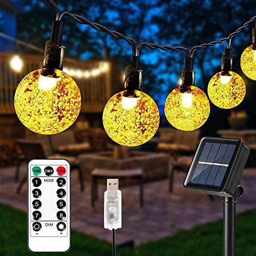 CFSYS Luces de Cadena solares, 23 pies 50 LED Luces de Hadas solares alimentadas por USB con 8 Modos IP65 Luces de jardín de Bola de Cristal Resistentes a la Intemperie para Fiestas Blanco cálido